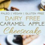 Paleo Caramel Apple Cheesecake - You will never believe this creamy caramel apple paleo cheesecake is vegan friendly and gluten, grain and dairy free! The perfect healthy comfort food dessert for the fall! | Foodfaithfitness.com | @FoodFaithFit