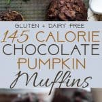 Healthy Gluten Free Chocolate Pumpkin Muffins - SOmoist and chewy! Made with whole grains, dairy free, low fat, only 140 calories! Perfect for breakfast or snack and kid friendly too! | Foodfaithfitness.com | @FoodFaitFit