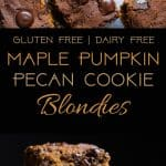 Cookie Stuffed Pumpkin Blondies -Cookies are baked right inside these healthier pumpkin brookies! They're so dense and chewy you'll never know they're gluten and dairy free!   Foodfaithfitness.com   @FoodFaithFit