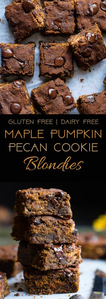 Cookie Stuffed Pumpkin Blondies - Cookies are baked right inside these healthier pumpkin brookies! They're so dense and chewy you'll never know they're gluten and dairy free! | Foodfaithfitness.com | @FoodFaithFit