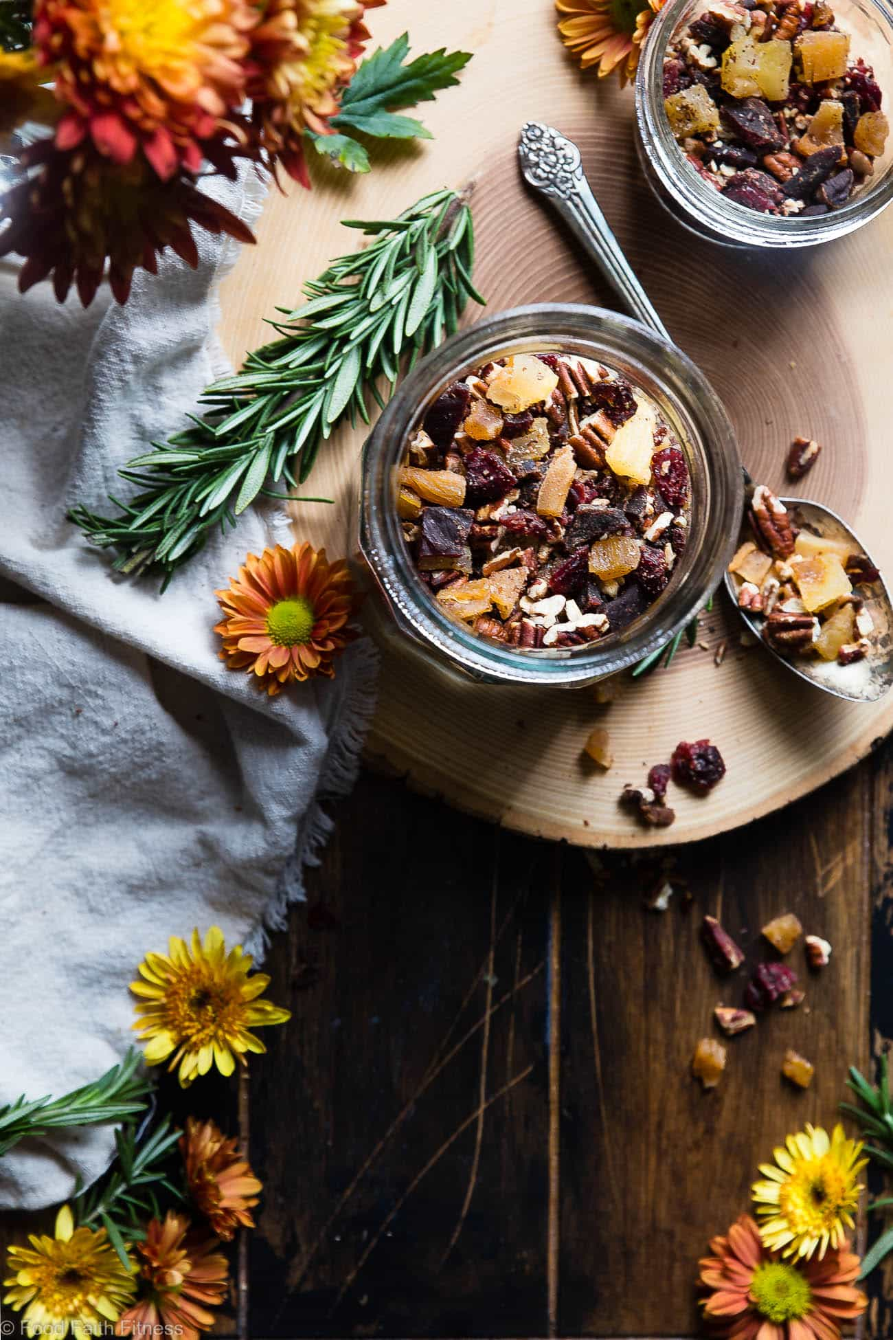 Protein Packed Fall Trail Mix - This quick and easy fall trail mix recipe only uses 6 ingredients and is secretly high in protein! It's a healthy gluten, grain and dairy free portable snack for busy days that is adult and kid friendly! | Foodfaithfitness.com | @FoodFaithFit