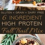 Protein Packed Fall Trail Mix -This quick and easy fall trail mix recipe only uses 6 ingredients and is secretly high in protein! It's a healthy gluten, grain and dairy free portable snack for busy days that is adult and kid friendly! | Foodfaithfitness.com | @FoodFaithFit