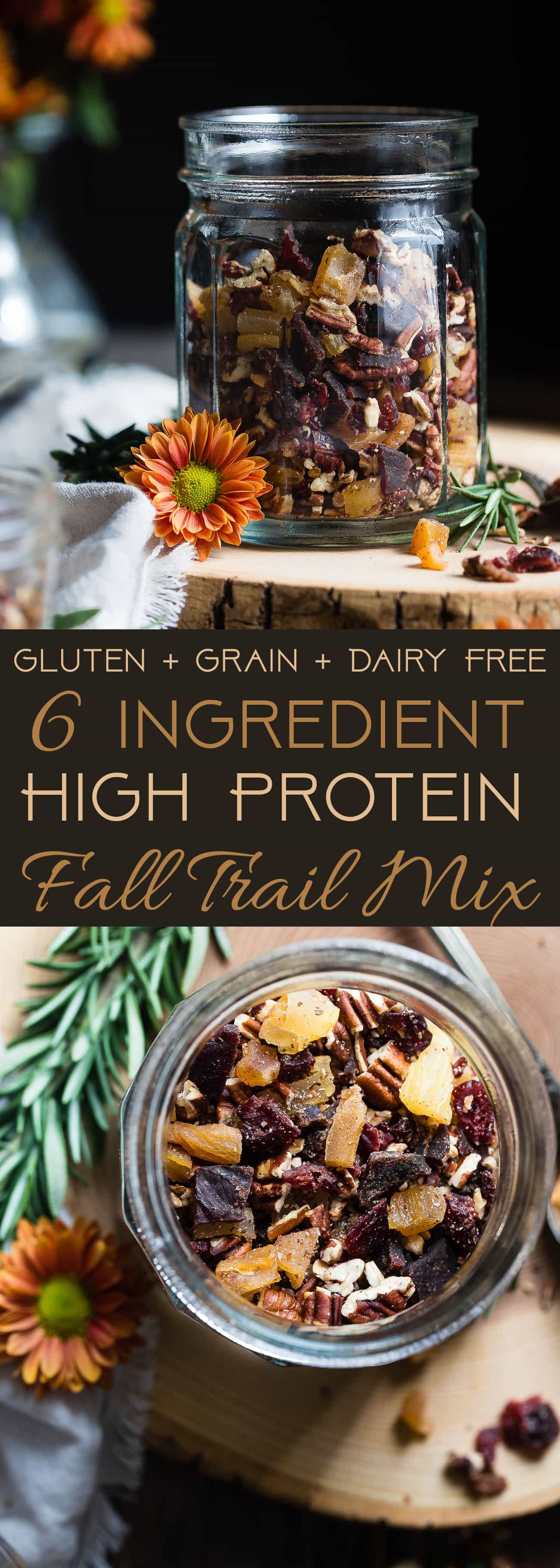 Protein Packed Fall Trail Mix - This quick and easy fall trail mix recipe only uses 6 ingredients and is secretly high in protein! It's a healthy gluten, grain and dairy free portable snack for busy days that is adult and kid friendly! | Foodfaithfitness.com | @FoodFaithFit | Homemade trail mix recipe. sweet trail mix recipe. easy trail mix recipe. trail mix recipe for kids. healthy trail mix recipe. protein trail mix recipe. trail mix for kids. savory trail mix recipe.