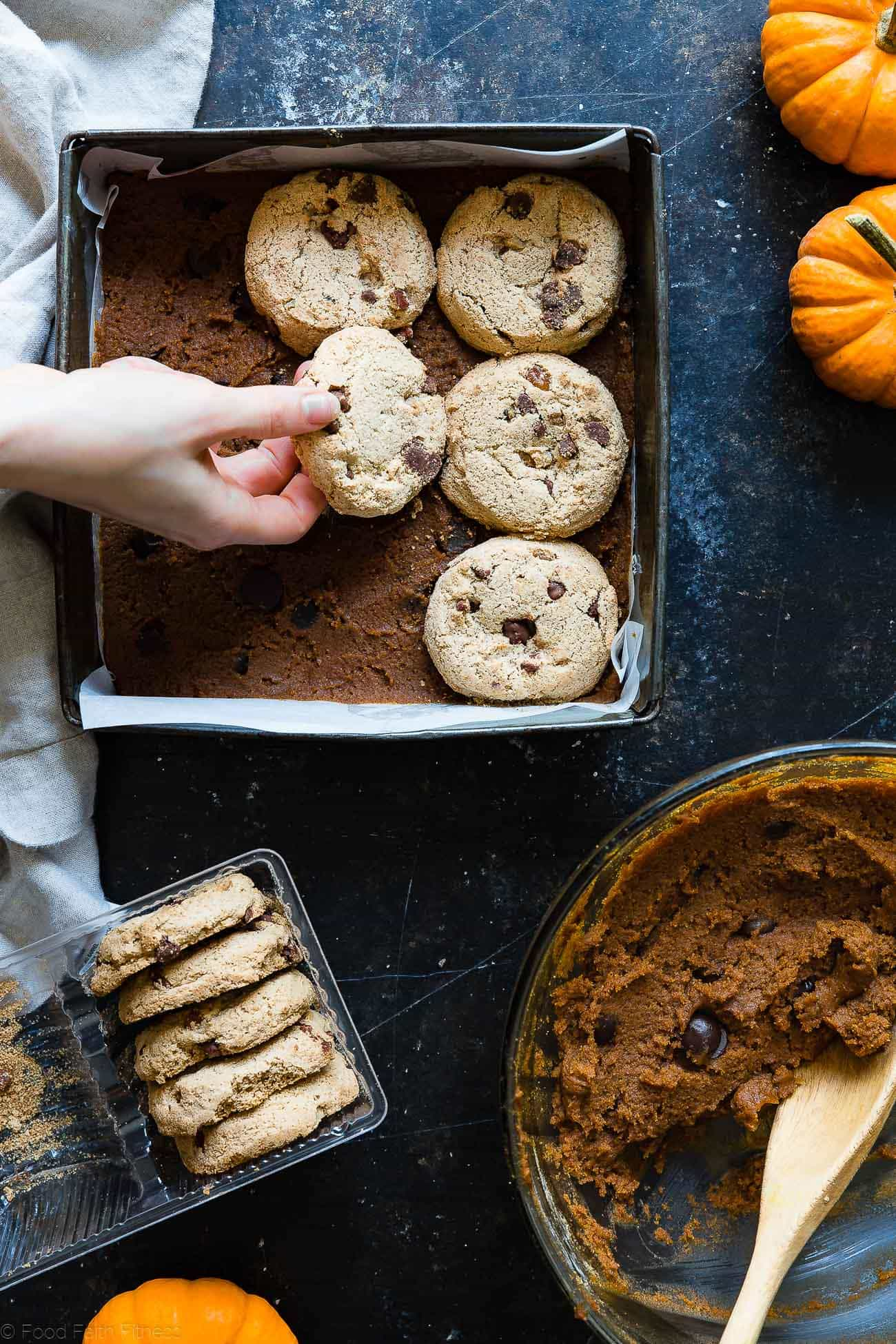 Cookie Stuffed Gluten Free Pumpkin Blondies - Cookies are baked right inside these healthier pumpkin brookies! They're so dense and chewy you'll never know they're gluten and dairy free! | Foodfaithfitness.com | @FoodFaithFit