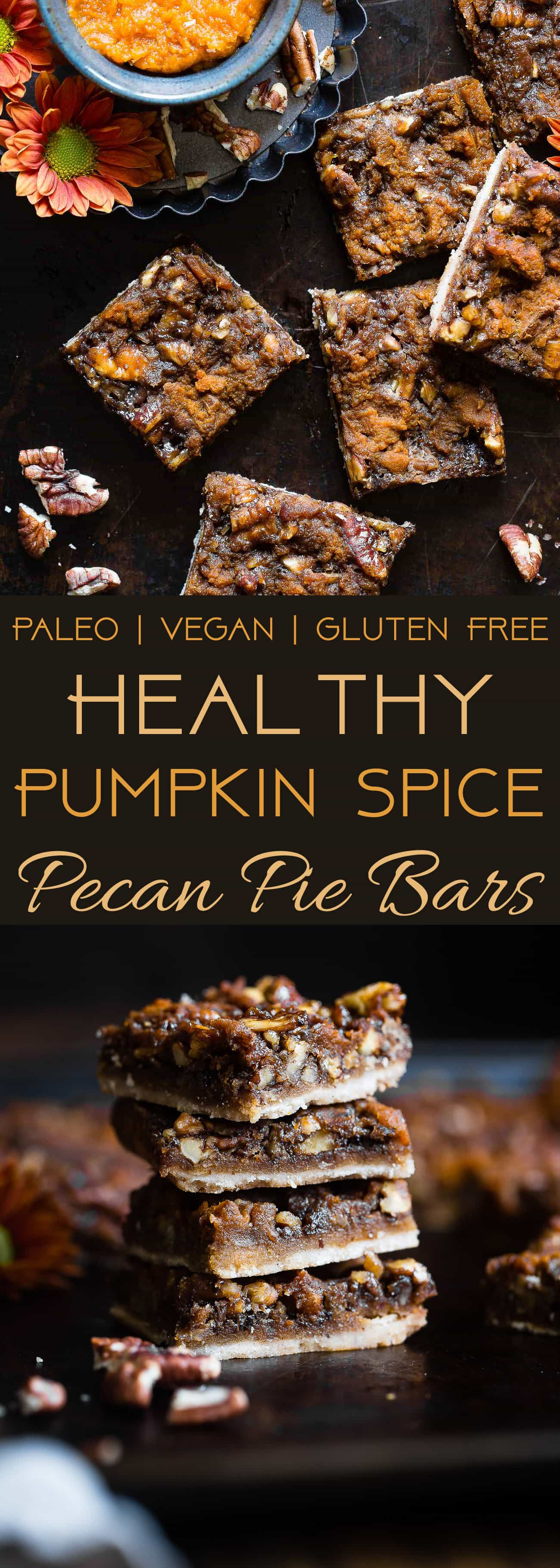 Pumpkin Spice Vegan Pecan Pie Bars - These easy, healthy pecan pie bars are only 8 ingredients and have a pumpkin spice spin! A gluten/grain/dairy/egg free dessert for Thanksgiving that's paleo friendly! | Foodfaithfitness.com | @FoodFaithFit | easy pecan pie bars. pecan pie bars no corn syrup. best pecan pie bars. healthy pecan pie bars. paleo pecan pie bars. gluten free pecan pie bars. pumpkin pecan pie bars. maple pecan pie bars. chewy pecan pie bars.