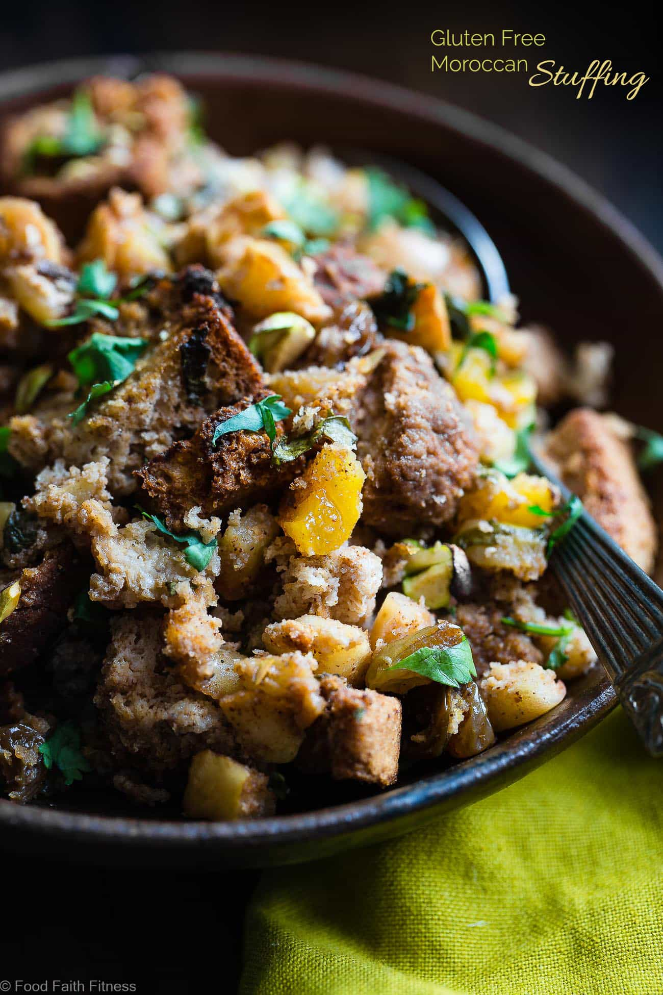 Moroccan Gluten Free Stuffing  -  This simple gluten free stuffing recipe is made with spicy-sweet Moroccan flavors, apples and dried fruit! It's a healthy, dairy-free twist on a classic side dish that's perfect for Thanksgiving! | Foodfaithfitness.com | @FoodFaithFit