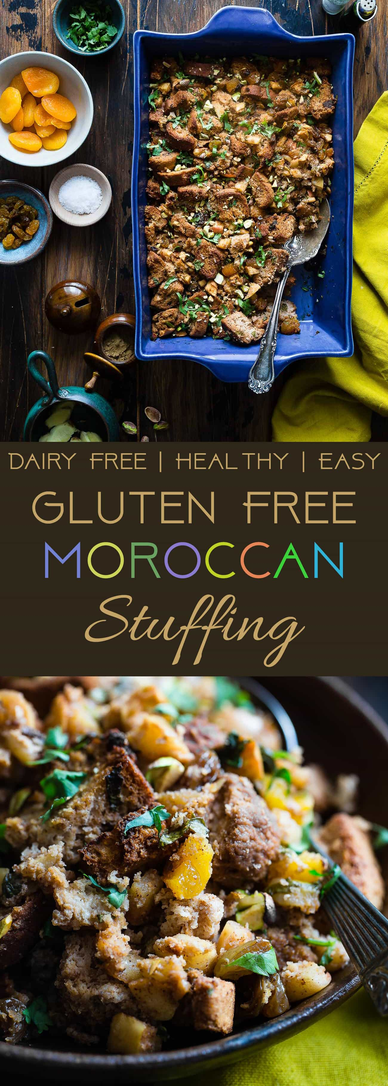 Moroccan Gluten Free Stuffing  -  This simple gluten free stuffing is made with spicy-sweet Moroccan flavors, apples and dried fruit! It's a healthy, dairy-free twist on a classic side dish that's perfect for Thanksgiving! | Foodfaithfitness.com | @FoodFaithFit | best gluten free stuffing. homemade gluten free stuffing. thanksgiving gluten free stuffing. gluten free stuffing for thanksgiving. clean eating stuffing. udis gluten free stuffing. apple gluten free stuffing.