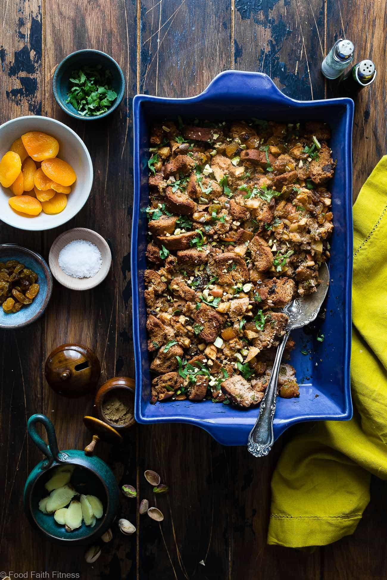 Moroccan Gluten Free Stuffing  -  This simple gluten free stuffing is made with spicy-sweet Moroccan flavors, apples and dried fruit! It's a healthy, dairy-free twist on a classic side dish that's perfect for Thanksgiving! | Foodfaithfitness.com | @FoodFaithFit