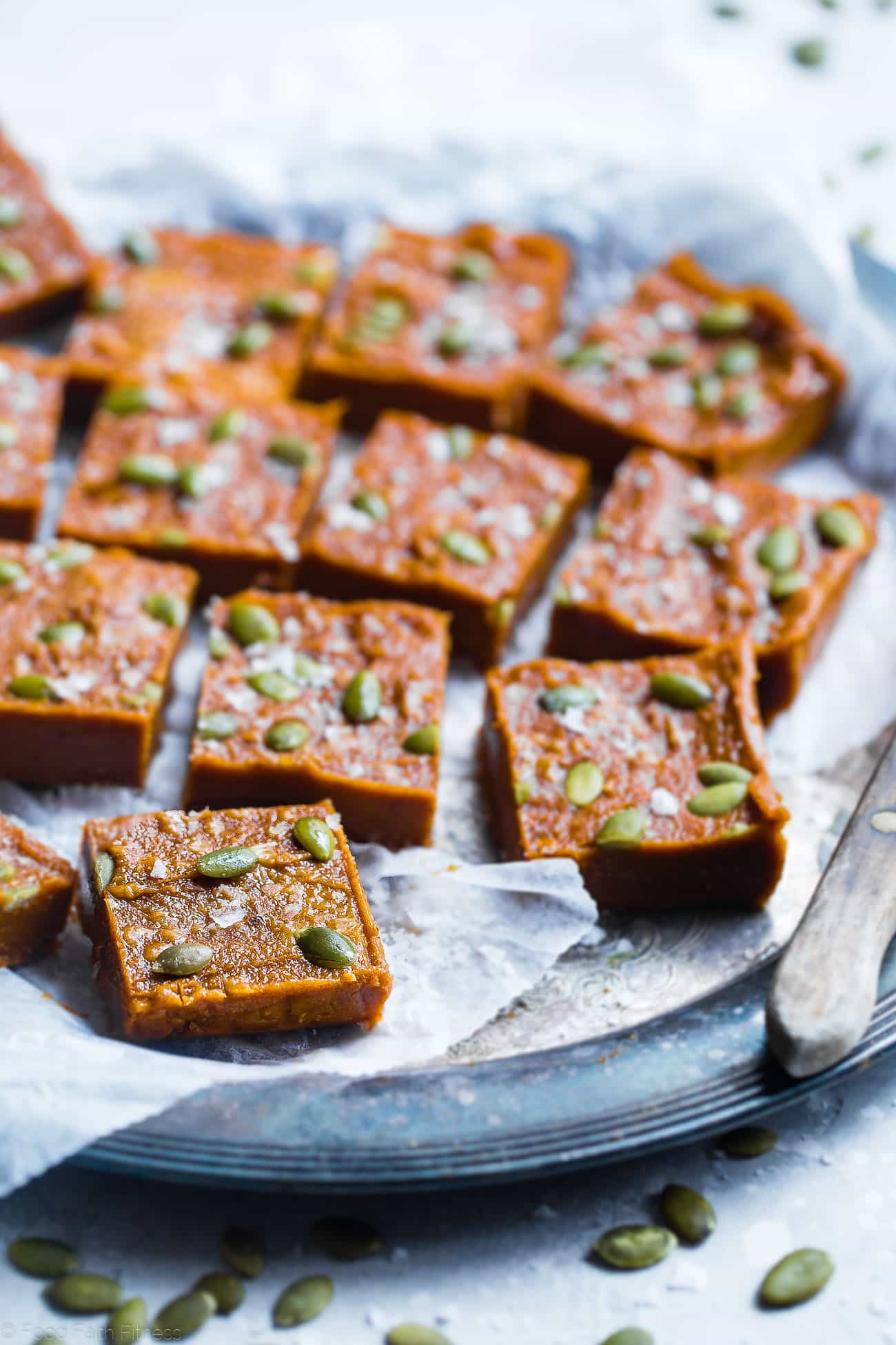 Sugar Free Vegan Pumpkin Freezer Fudge - Thispaleo, dairy-free pumpkin fudge requires only a few minutes to make and is naturally sweetened with dates! It's gluten, grain and dairy free and SO creamy! | Foodfaithfitness.com | @FoodFaithFit