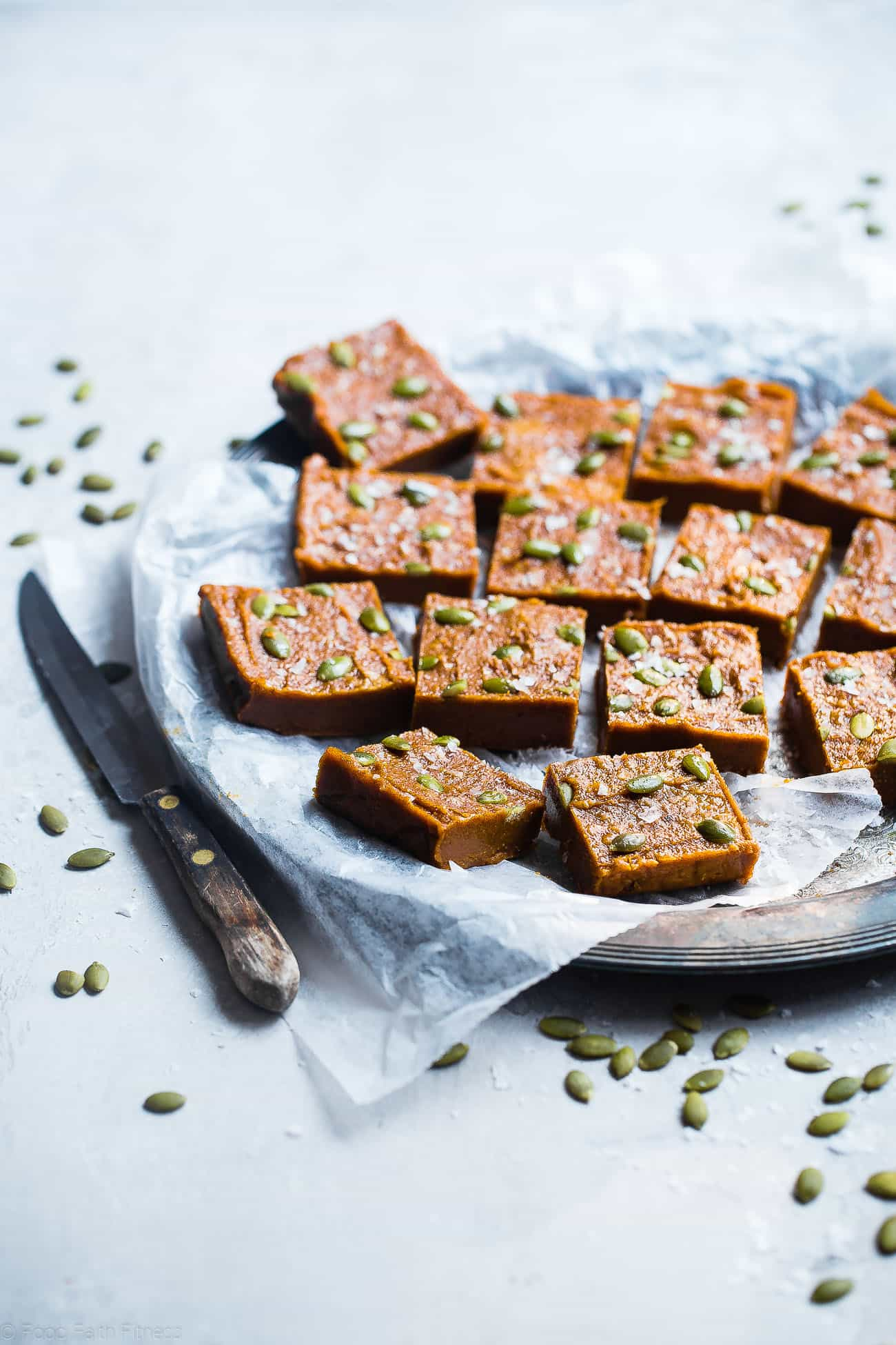 Sugar Free Vegan Pumpkin Freezer Fudge - This paleo pumpkin fudge requires only a few minutes to make and is naturally sweetened with dates! It's gluten, grain and dairy free and SO creamy! | Foodfaithfitness.com | @FoodFaithFit