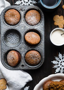 The BEST Healthy Gluten Free Gingerbread Muffins -This truly is the best healthy gingerbread muffin recipe! Dairy and egg free, vegan friendly and only 5 ingredients and perfect for Christmas morning!   Foodfaithfitness.com   @FoodFaithFit