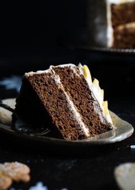 Gluten Free Mango Gingerbread Cake with Coconut Cream -This spicy-sweet, show stopping gluten free gingerbread cake is studded with juicy, fresh mangoes to create a healthy, paleo-friendly, festive dessert for the Holidays!   Foodfaithfitness.com   @FoodFaithFit
