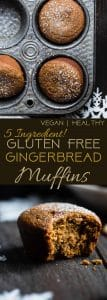 The BEST Healthy Gluten Free Gingerbread Muffins -This truly is the best healthy gingerbread muffin recipe! Dairy and egg free, vegan friendly and only 5 ingredients and perfect for Christmas morning! | Foodfaithfitness.com | @FoodFaithFit