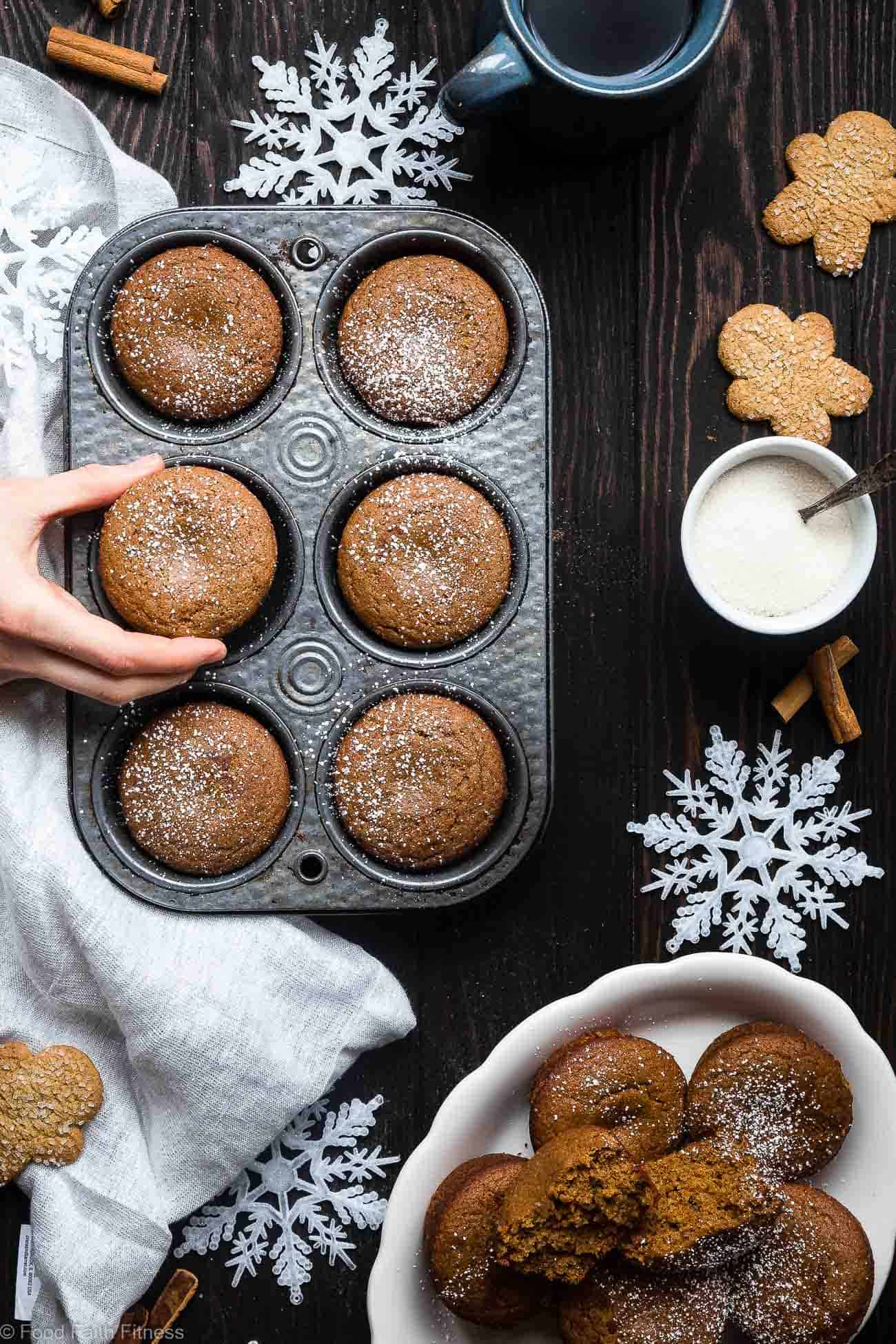 The BEST Healthy Gluten Free Ginger Muffins  - This truly is the best healthy gingerbread muffin recipe! Dairy and egg free, vegan friendly and only 5 ingredients and perfect for Christmas morning! | Foodfaithfitness.com | @FoodFaithFit
