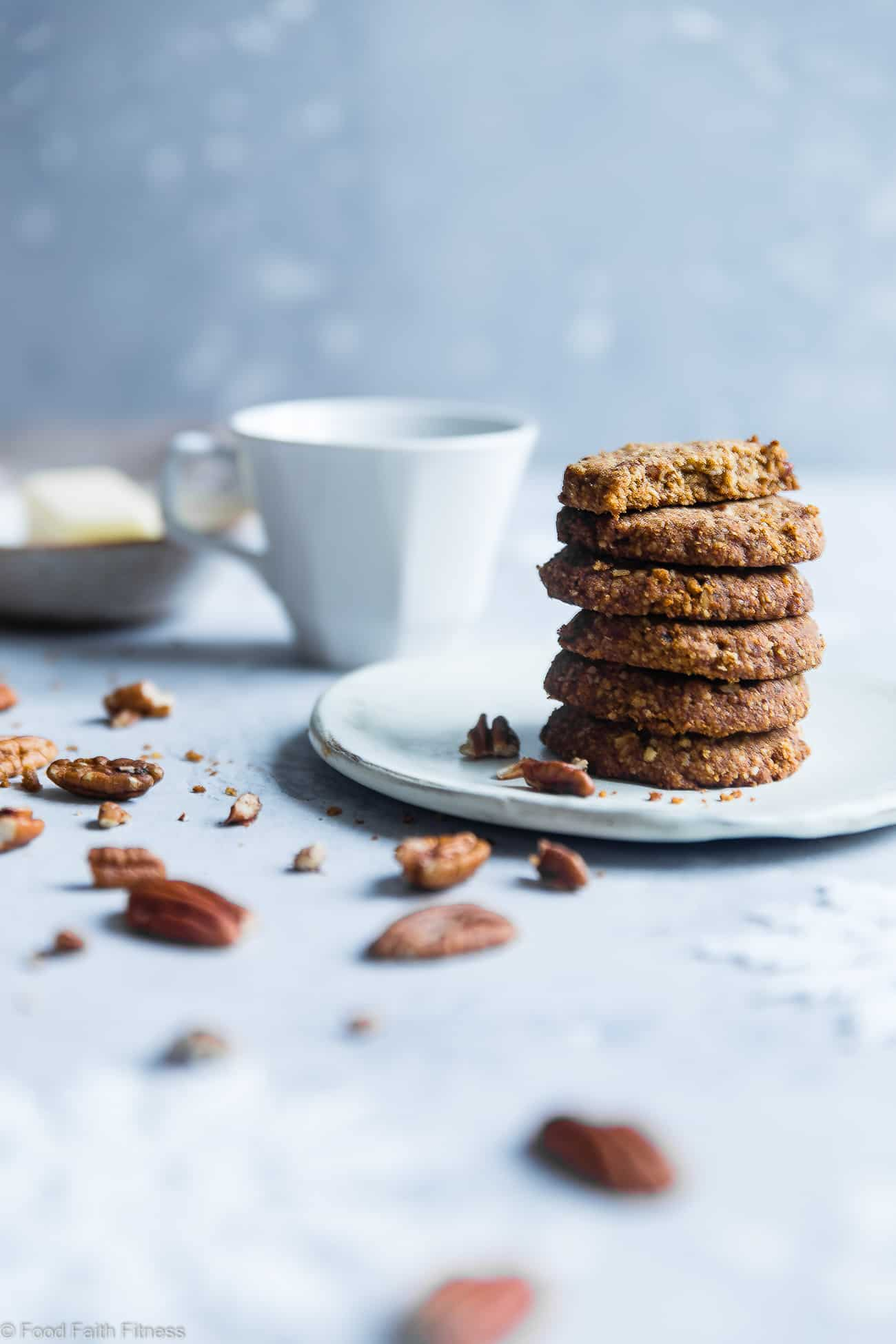 Brown Sugar Chewy Butter Pecan Cookies Recipe -These 6 ingredient, gluten freecookies with pecans are perfectly crisp on the outside and chewy on the inside! A paleo and vegan friendly, dairy-free treat for the holidays! | Foodfaithfitness.com | @FoodFaithFit