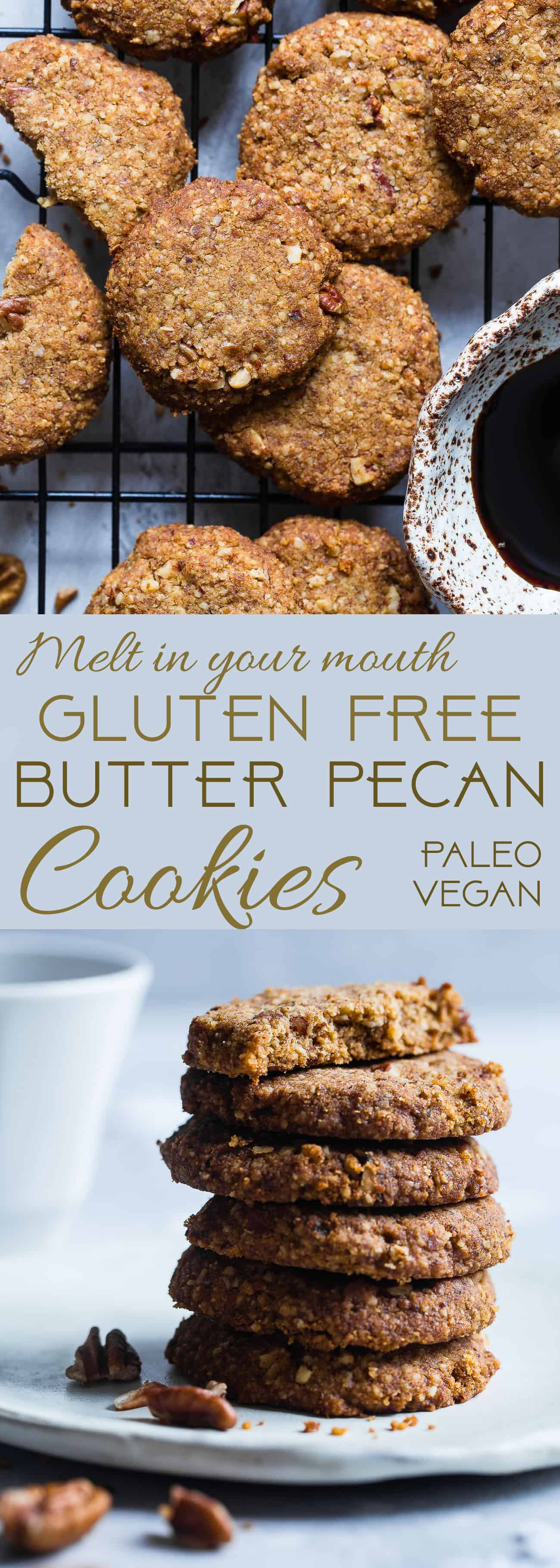 Chewy Butter Pecan Cookies -These 6 ingredient, gluten freeButter Pecan Cookies are perfectly crisp on the outside and chewy on the inside! A paleo and vegan friendly, dairy-free treat for the holidays! | Foodfaithfitness.com | @FoodFaithFit| healthy butter pecan cookies. Paleo christmas cookies. vegan christmas cookies. healthy christmas cookies. shortbread cookies. gluten free shortbread.