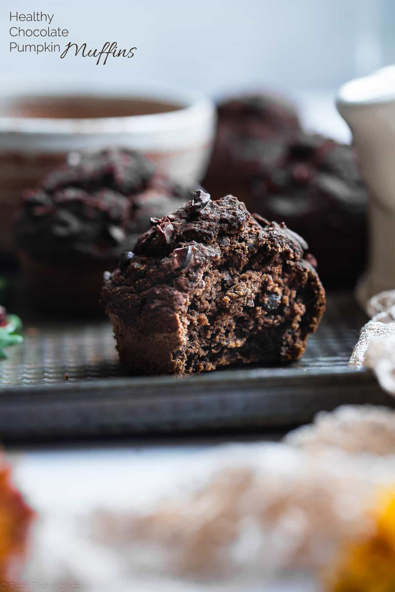 Healthy Gluten Free Chocolate Pumpkin Muffins - SO moist and chewy! Made with whole grains, dairy free, low fat, only 145 calories!  Perfect for breakfast or snack and kid friendly too! | Foodfaithfitness.com | @FoodFaitFit