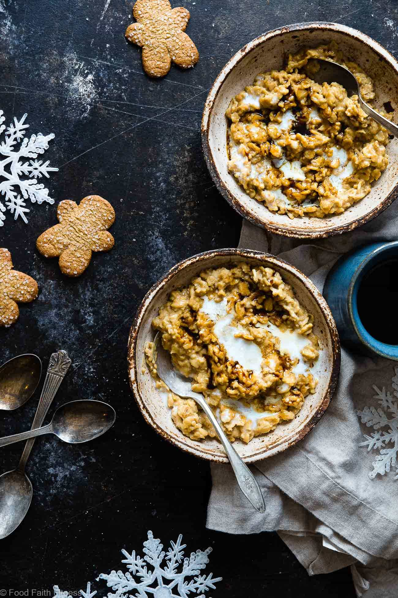 Gingerbread Healthy Protein Oatmeal - This quick and easy, high protein oatmeal tastes like waking up and eating a gingersnap cookie! It's a healthy, gluten free breakfast for kids and adults and it's ready in only 10 minutes! | Foodfaithfitness.com | @FoodFaithFit