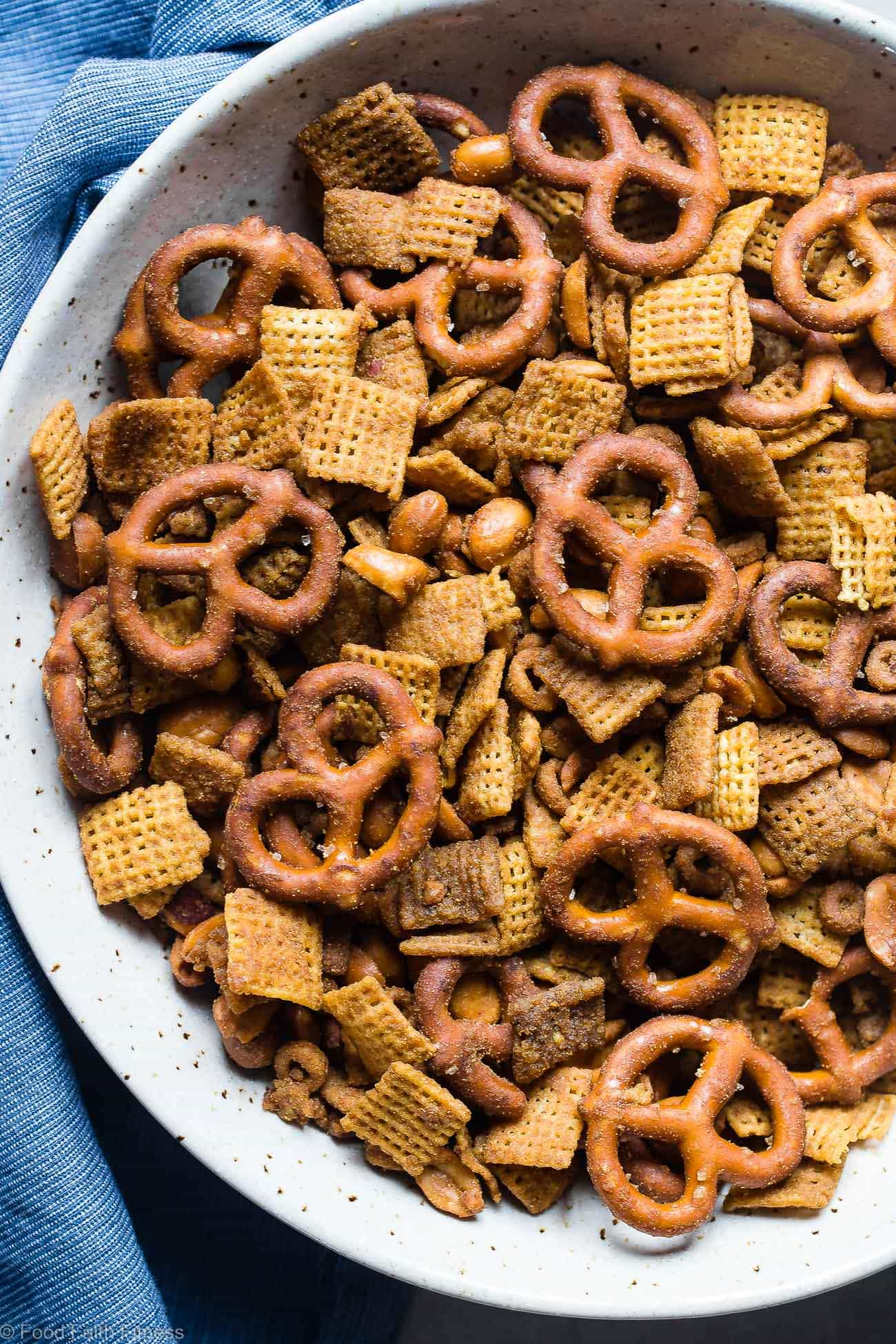 Hickory Honey Mustard Homemade Crock Pot Chex Mix -This dairy and gluten freeChex Mix is made in the slow cooker so it's super easy and hands off! It's got addicting smoky sweet flavors and is perfect for parties or movie nights! | Foodfaithfitness.com | @FoodFaithFit