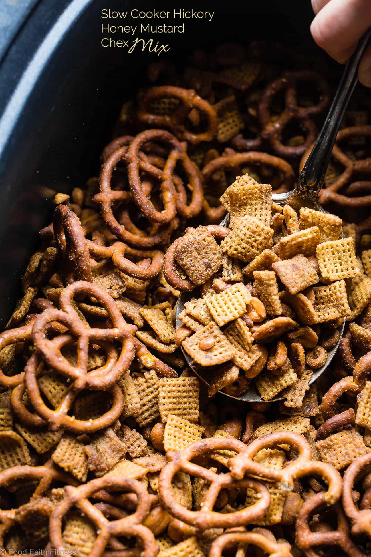 Hickory Honey Mustard Homemade Crock Pot Chex Mix - This dairy and gluten free Chex Mix is made in the slow cooker so it's super easy and hands off! It's got addicting smoky sweet flavors and is perfect for parties or movie nights! | Foodfaithfitness.com | @FoodFaithFit