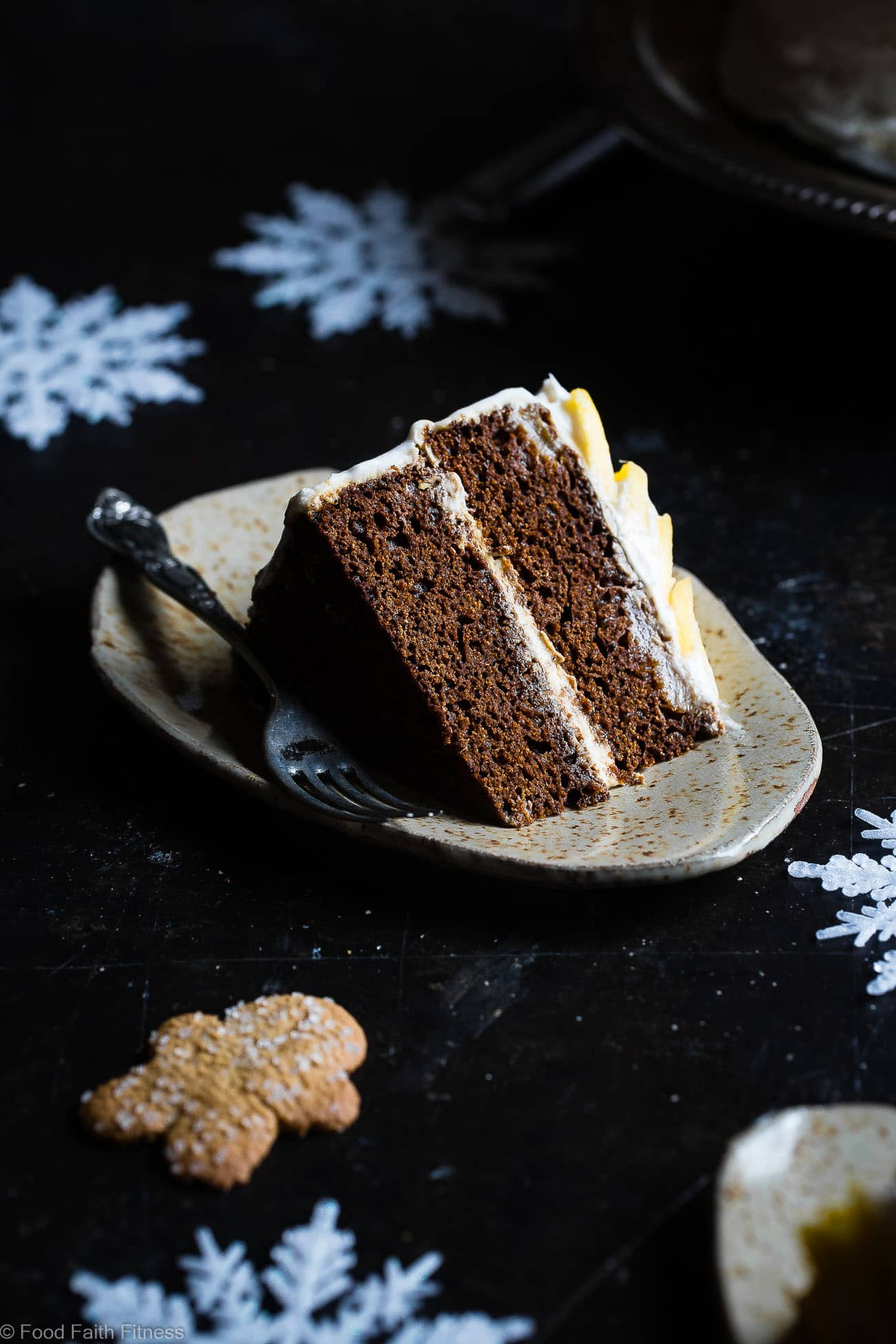 Gluten Free Mango Gingerbread Cake with Coconut Cream -This spicy-sweet, show stopping gluten free gingerbread cake recipe is studded with juicy, fresh mangoes to create a healthy, paleo-friendly, festive dessert for the Holidays! | Foodfaithfitness.com | @FoodFaithFit