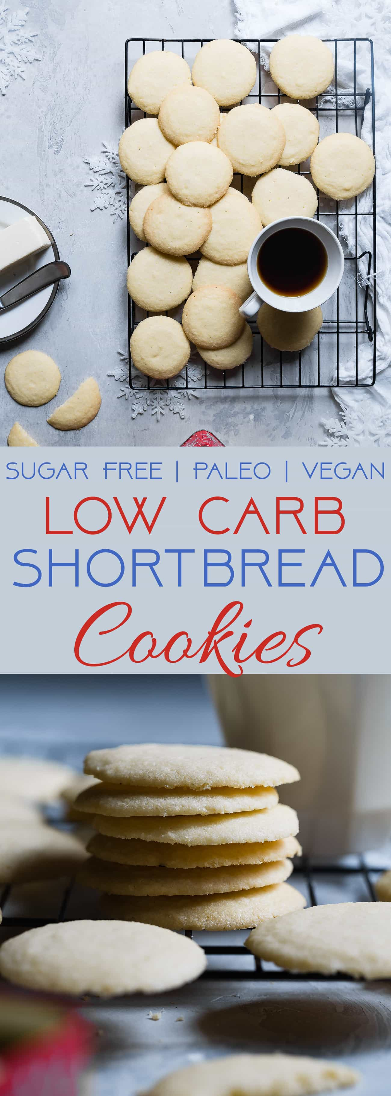 Paleo Whipped Gluten Free Shortbread Cookies - These easy shortbread cookies actually melt in your mouth and are only 60 calories! They're secretly sugar free, healthy and vegan/keto friendly too! | Foodfaithfitness.com | @FoodFaithFit | vegan shortbread cookies. Christmas gluten free shortbread cookies. paleo shortbread cookies. sugar free shortbread cookies. gluten free christmas cookies.