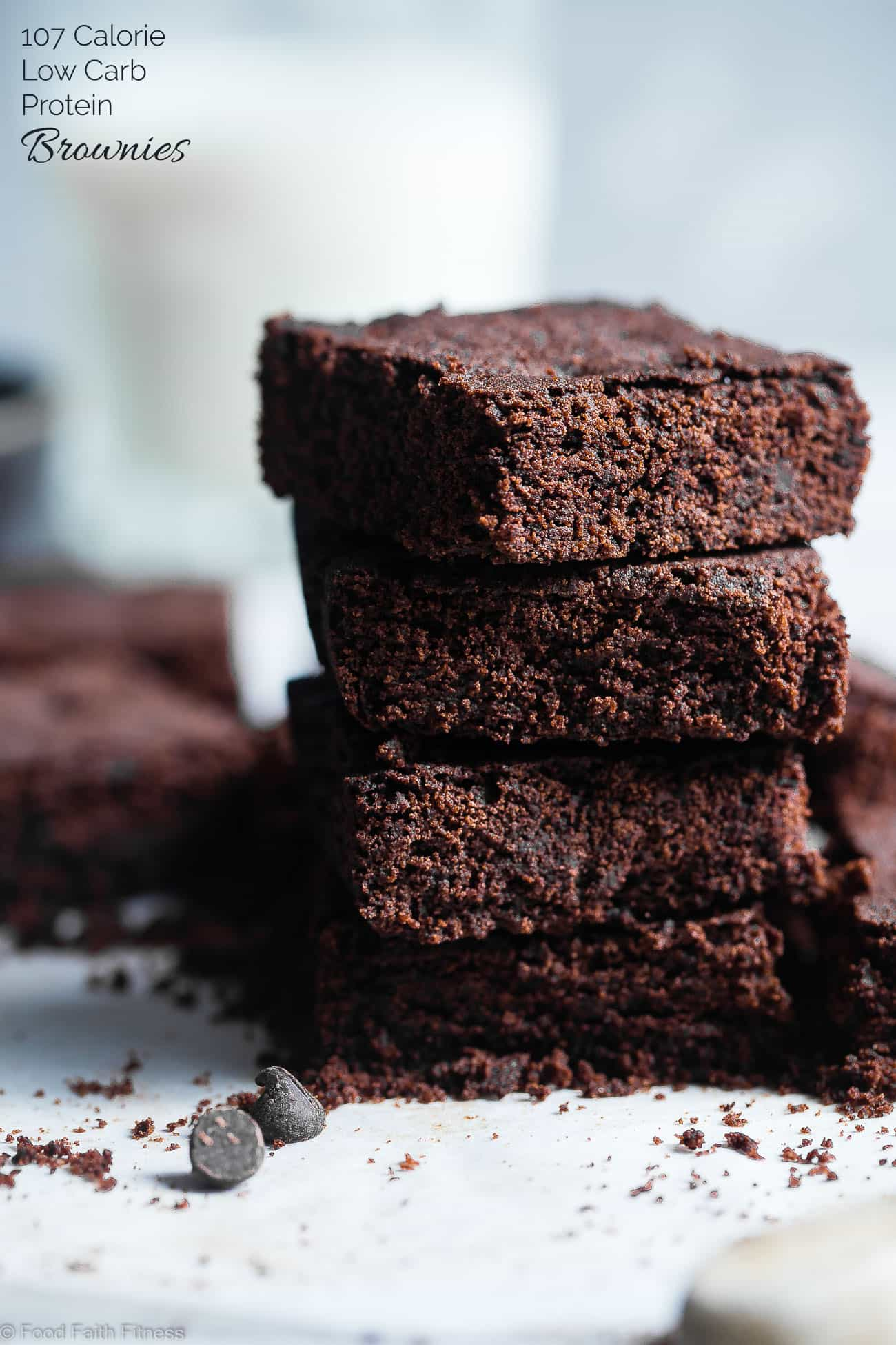 Low Carb Keto Protein Brownies -SO dense and chewy you would never believe they are only 107 calories and sugar/grain/dairy/gluten free and paleo friendly! The perfect healthy treat! | Foodfaithfitness.com | @FoodFaithFit