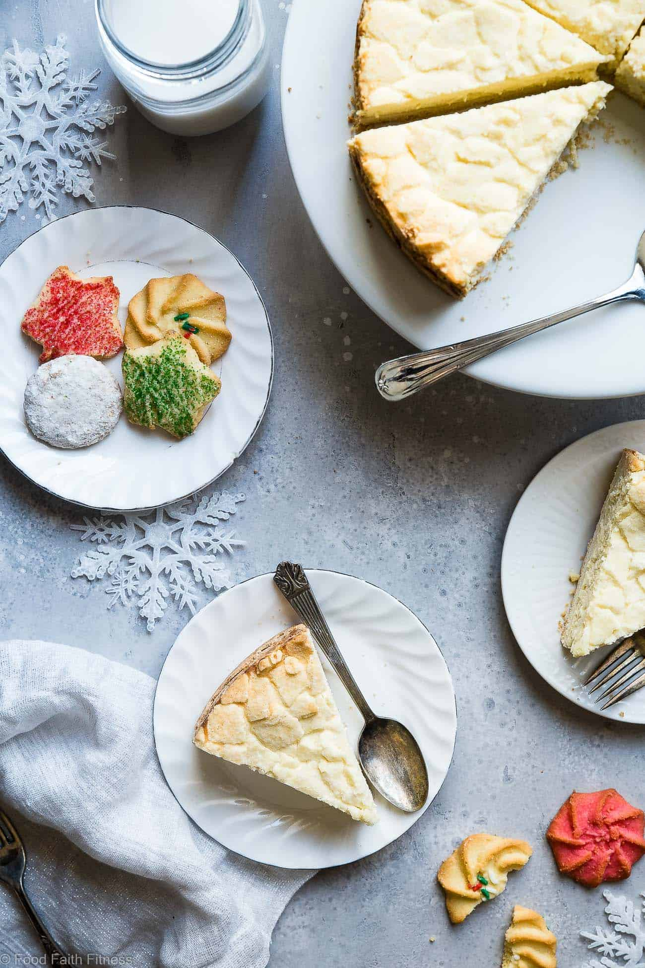 Sugar Free Greek Yogurt Cheesecake - This cheesecake with Greek yogurt is an easy dessert that combines 2 Holiday treats ! It's so creamy you won't believe it's healthy, sugar free and only 235 calories! | Foodfaithfitness.com | @FoodFaithFit