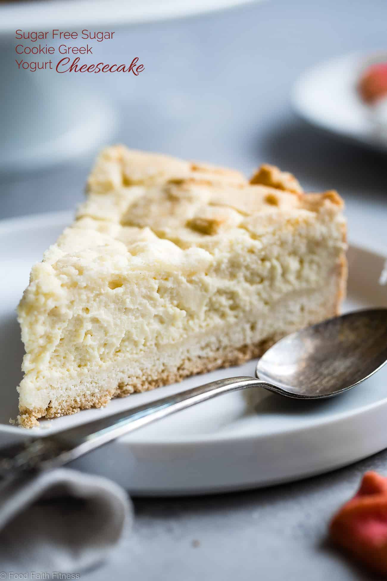 Sugar Free Greek Yogurt Cheesecake -This gluten free cheesecake is an easy dessert that combines 2 Holiday treats ! It's so creamy you won't believe it's healthy, sugar free and only 235 calories! | Foodfaithfitness.com | @FoodFaithFit