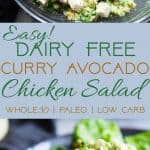 Curried Paleo Chicken Salad - This quick and easy dairy free paleo chicken salad is a low carb, keto friendly,  gluten free and whole30 compliant lunch with a spicy curry kick! So creamy and delicious and great for meal prep! | Foodfaithfitness.com | @FoodFaithFit | whole 30 chicken salad. avocado chicken salad. healthy chicken salad. chicken salad without mayo. low carb chicken salad. Whole30 lunch ideas
