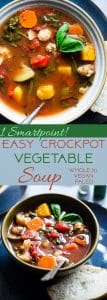 Easy Homemade Crockpot Vegetable Soup - Let the crockpot do the work for you with this simple soup that isa whole30, paleo and vegan dinner with only 1 SmartPoint and 85 calories! A family friendly dinner for busy weeknights that will please the pickiest of eaters!   Foodfaithfitness.com   @FoodFaithFit
