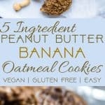 Healthy Peanut Butter Oatmeal Banana Cookies - These gluten free oatmeal cookiesuse only 5 simple ingredients and are dairy free and vegan friendly! A healthy treat for kids and adults that can be a breakfast or snack! | Foodfaithfitness.com | @FoodFaithFit