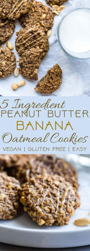 Healthy Peanut Butter Oatmeal Banana Cookies - These gluten free oatmeal cookiesuse only 5 simple ingredients and are dairy free and vegan friendly! A healthy treat for kids and adults that can be a breakfast or snack!   Foodfaithfitness.com   @FoodFaithFit