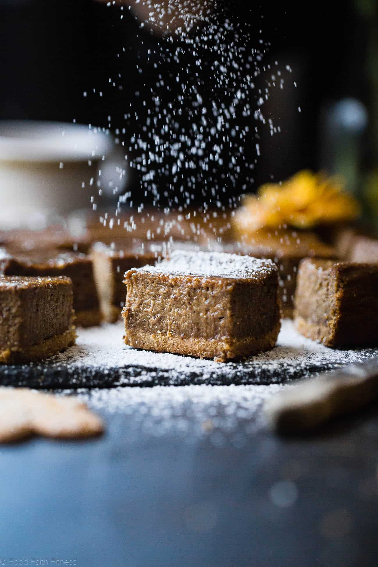 Gingerbread Dairy Free Paleo Cheesecake Bars - These little bites of gingerbread bliss are SO creamy and spicy-sweet! A paleo friendly, healthy and gluten free dessert for the holidays that you will never believe is dairy and egg free!  | Foodfaithfitness.com | @FoodFaithFit