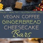 Dairy Free Vegan Coffee Gingerbread Cheesecake Bars - These little bites of gingerbread blissare SO creamy and spicy-sweet! A paleo friendly, healthy and gluten free dessert for the holidays that you will never believe is dairy and egg free! | Foodfaithfitness.com | @FoodFaithFit