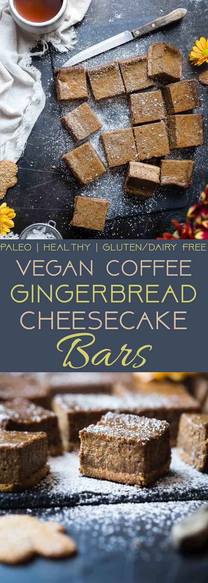 Dairy Free Vegan Gingerbread Cheesecake Bars - These little bites of gingerbread blissare SO creamy and spicy-sweet! A paleo friendly, healthy and gluten free dessert for the holidays that you will never believe is dairy and egg free! | Foodfaithfitness.com | @FoodFaithFit | gluten free gingerbread cheesecake. vegan cheesecake. healthy cheesecake bars. healthy christmas desserts. paleo cheesecake.