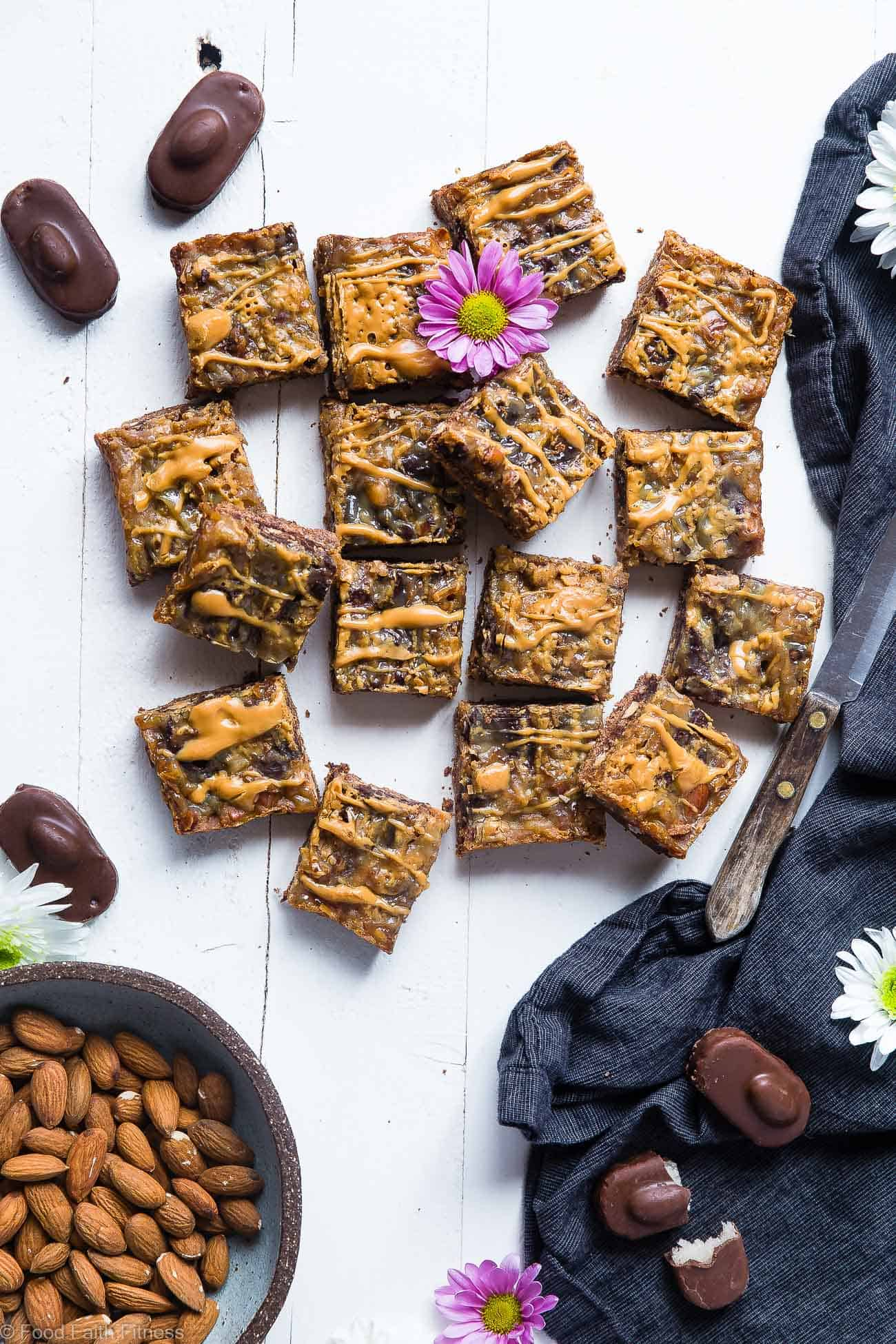 Almond Joy Gluten Free Magic Bars Recipe- These paleo and vegan friendly magic cookie bars taste like an almond joy! They're an easy, healthier spin on a classic treat that you'll never believe is gluten/grain/dairy and refined sugar free! | Foodfaithfitness.com | @FoodFaithFit