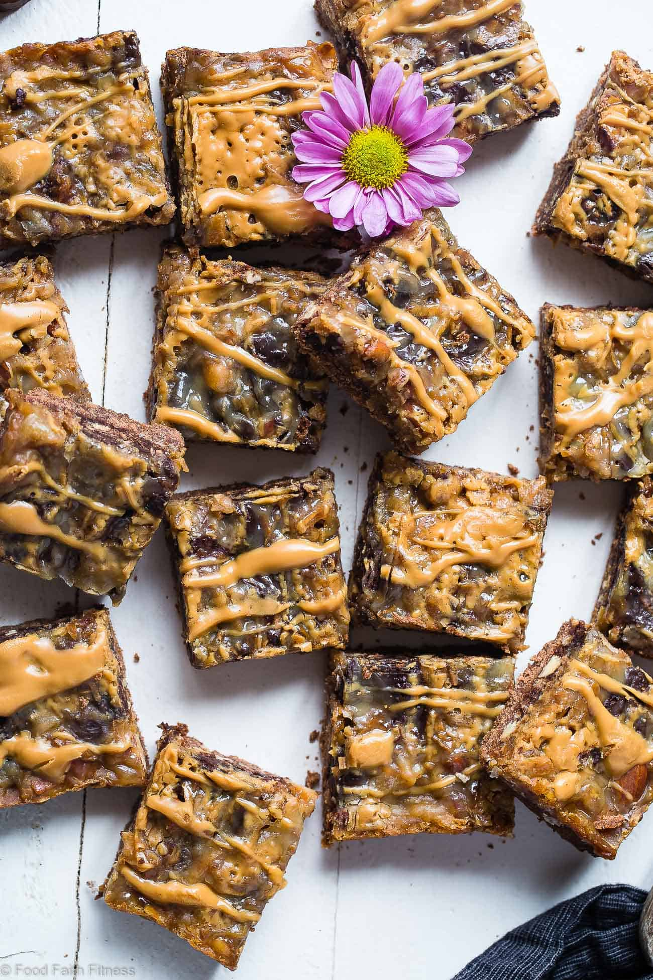 Almond Joy Gluten Free Magic Cookie Bars - These paleo and vegan friendly recipe for magic cookie bars taste like an almond joy! They're an easy, healthier spin on a classic treat that you'll never believe is gluten/grain/dairy and refined sugar free! | Foodfaithfitness.com | @FoodFaithFit