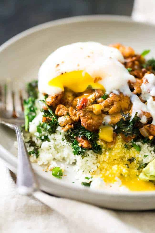 Tofu Breakfast Scramble with poached egg on top