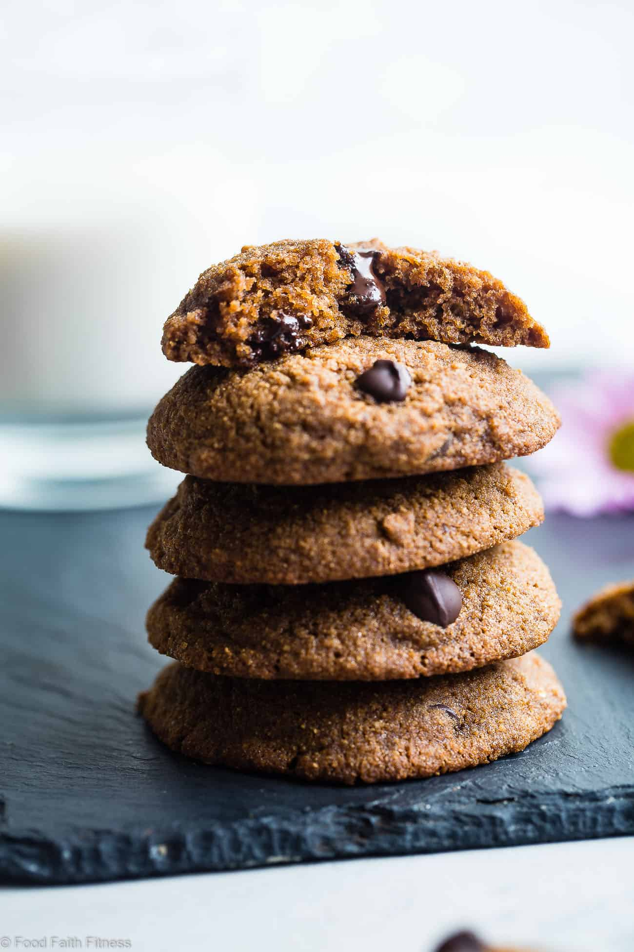 The Best Paleo Chocolate Chip Cookies -These EASYpaleo friendly cookies are buttery, soft, chewy and SO rich and chocolaty! You won't believe they are gluten, grain and refined sugar free! | #Foodfaithfitness | #Paleo #Cookies #Glutenfree #ChocolateChip #GrainFree
