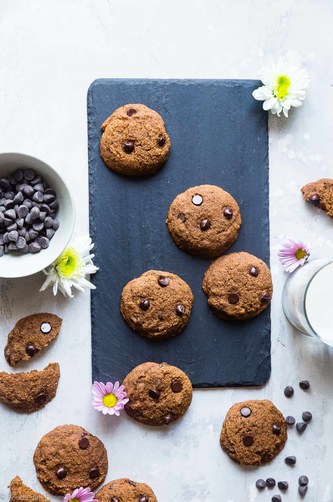 Paleo Coconut Flour Chocolate Chip Cookies -These are the best coconut flour cookies! Paleo friendly cookies with coconut flour are buttery, soft, chewy and SO rich and chocolaty! You won't believe they are gluten, grain and refined sugar free! | Foodfaithfitness.com | @FoodFaithFit