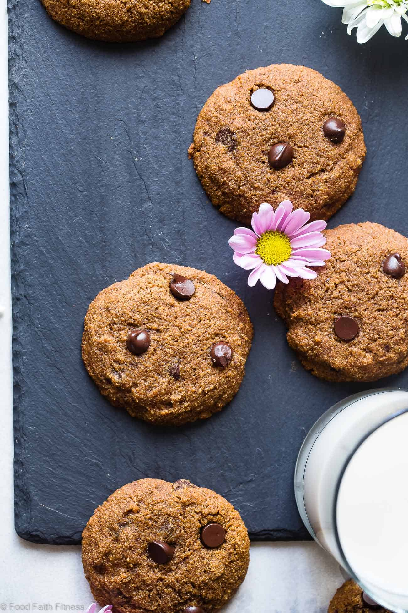 Paleo Chocolate Chip Cookies -These EASYpaleo friendly coconut flour cookies recipe is are buttery, soft, chewy and SO rich and chocolaty! You won't believe they are gluten, grain and refined sugar free! | Foodfaithfitness.com | @FoodFaithFit