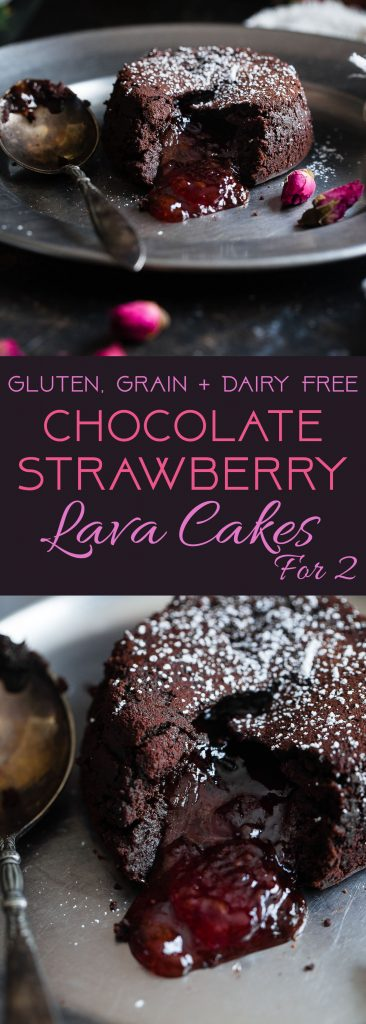 Gluten Free Chocolate Strawberry Lava Cakes for Two - These ooey-gooey, rich and FUDGY lava cakes are a 15 minute dessert that feels SO fancy! They're gluten/grain/dairy free and better for you too! | #Foodfaithfitness | #Glutenfree #Lavacake #ValentinesDay #Strawberry #DairyFree