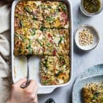 Low Carb Pesto Italian Sausage Breakfast Casserole - This easy, keto-friendly breakfast egg casserole is loaded with cheese and Italian flavors! A perfect, make-ahead breakfast or brunch that's gluten free and healthy! | #Foodfaithfitness | #Keto #Lowcarb #Glutenfree #Healthy #Breakfast