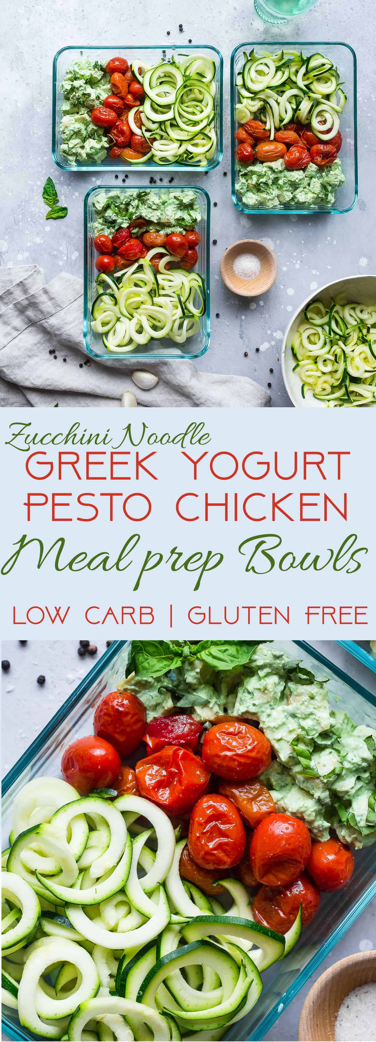Greek Yogurt Pesto Chicken & Zucchini Noodle Meal prep Bowls - An easy, low carb, gluten free and protein packed work lunch! A healthy meal for kids or adults that's only 260 calories and 3 Freestyle points! | #Foodfaithfitness | #Lowcarb #glutenfree #healthy #mealprep #Greekyogurt