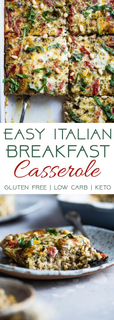 Low Carb Pesto Italian Sausage Breakfast Casserole -Thiseasy, keto-friendly breakfast egg casseroleis loaded with cheese and Italian flavors! A perfect, make-ahead breakfast or brunch that's gluten free and healthy! | #Foodfaithfitness | #Keto #Lowcarb #Glutenfree #Healthy #Breakfast