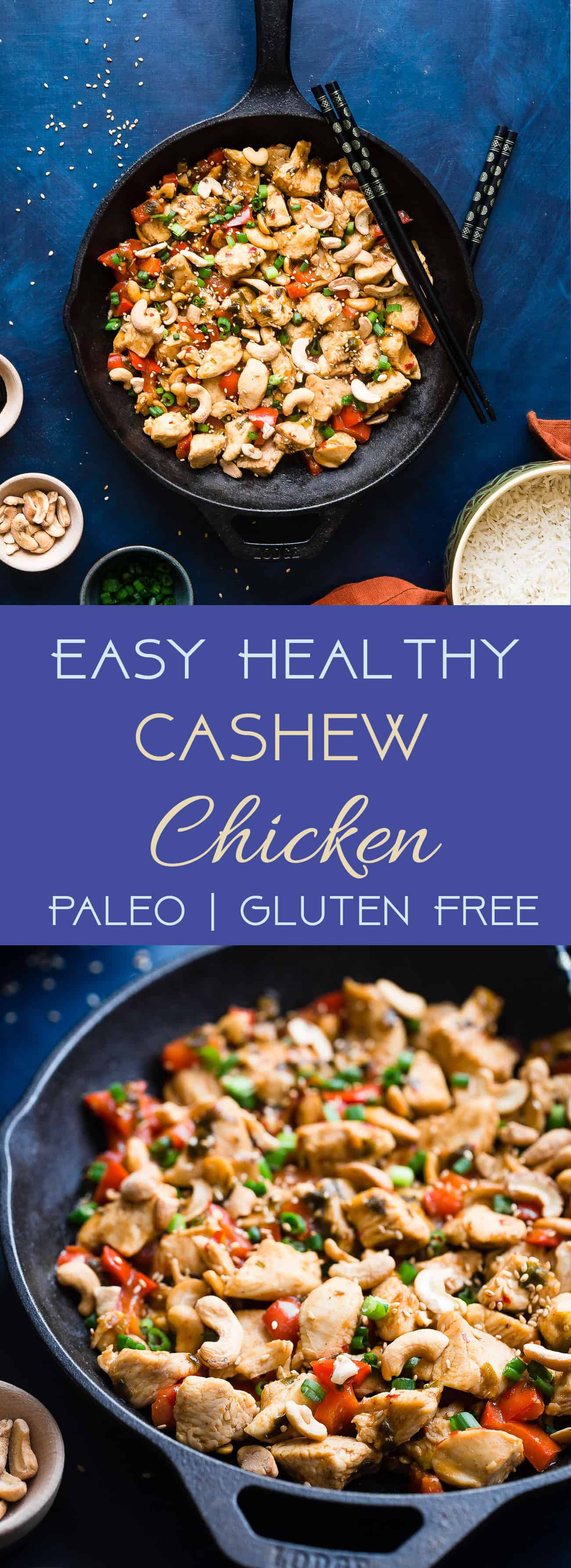 Easy Paleo Cashew Chicken Stir Fry - A healthy, gluten, grain and dairy free weeknight meal that the whole family will love! Ready in 20 minutes and WAY better than takeout! | #Foodfaithfitness | #Paleo #Glutenfree #Healthy #StirFry #Dairyfree