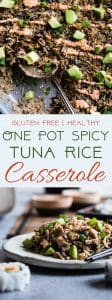 One Pot Spicy Tuna Rice Casserole -This easy, one-pot casseroletastes like a sushi roll, in a healthy, gluten free weeknight dinner form, with no messing rolling required! A crowd-pleasing meal that only requires on dish! | #Foodfaithfitness | #Glutenfree #Healthy #Casserole #Onepot