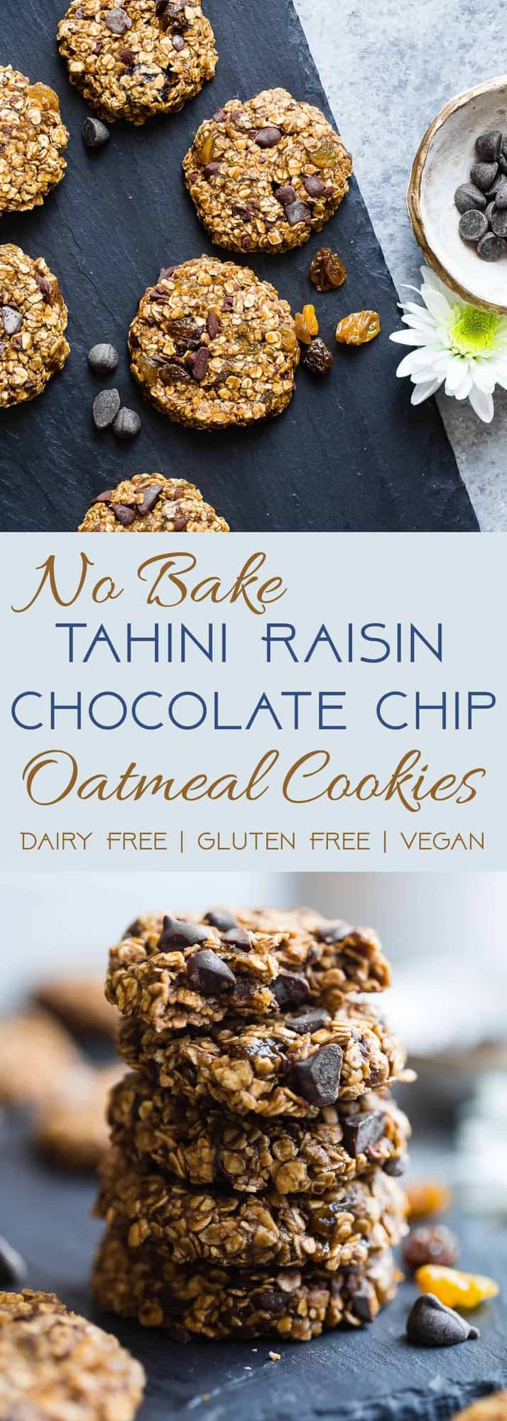 No-Bake Vegan Oatmeal Raisin, Chocolate Chip, and Tahini Cookies - These EASY, no bake oatmeal cookies have a surprise tahini twist, chocolate and notes of spicy cardamon and chewy golden raisins! A healthy, gluten/dairy/egg free treat for only 110 calories! | #Foodfaithfitness | #Vegan #NoBake #Healthy #ChocolateChip #Glutenfree