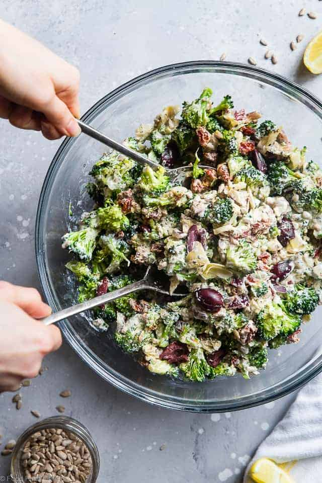 Mediterranean Low Carb Broccoli Salad - This Low Carb Broccoli Salad, with a Greek twist, is a super easy, healthy and protein packed side dish for dinner or a potluck! It's made with Greek yogurt and you won't even miss the mayo! | #Foodfaithfitness | #Lowcarb #Keto #Glutenfree #Healthy